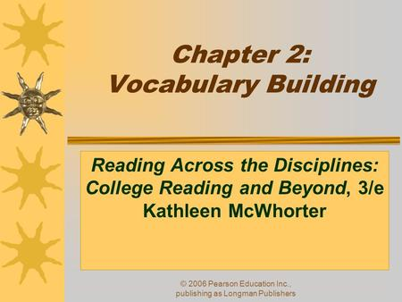 Chapter 2: Vocabulary Building