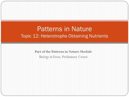 Patterns in Nature Topic 12: Heterotrophs Obtaining Nutrients