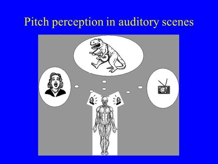 Pitch perception in auditory scenes 2 Papers on pitch perception… of a single sound source of more than one sound source LOTS - too many? Almost none.