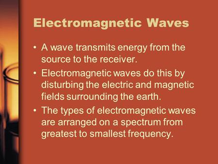 Electromagnetic Waves A wave transmits energy from the source to the receiver. Electromagnetic waves do this by disturbing the electric and magnetic fields.