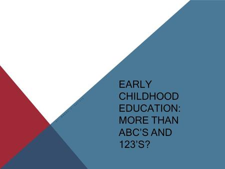 EARLY CHILDHOOD EDUCATION: MORE THAN ABC'S AND 123'S? BY: WENDY K. ENFIELD.