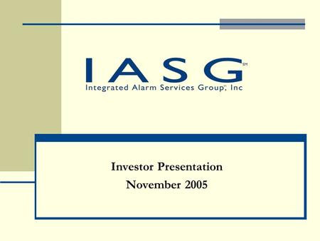 Investor Presentation November 2005. Forward Looking Statements This presentation may contain forward-looking statements which are subject to a number.
