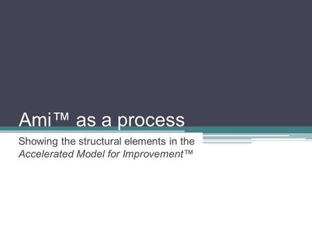 Ami™ as a process Showing the structural elements in the Accelerated Model for Improvement™