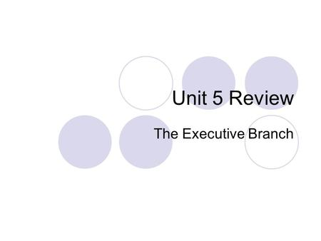 Unit 5 Review The Executive Branch. The Presidency The Evolution of the Presidency  The Presidency in the Constitution Qualifications Powers and Duties.