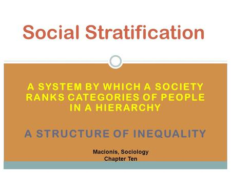 A SYSTEM BY WHICH A SOCIETY RANKS CATEGORIES OF PEOPLE IN A HIERARCHY A STRUCTURE OF INEQUALITY Social Stratification Macionis, Sociology Chapter Ten.