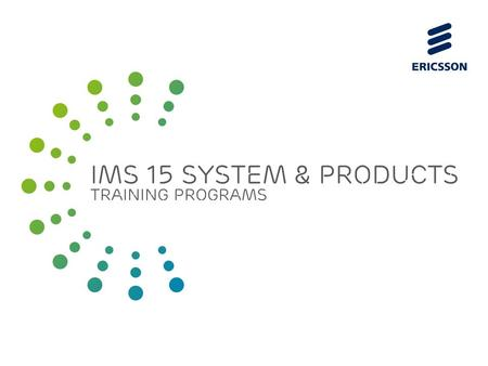 Slide title 70 pt CAPITALS Slide subtitle minimum 30 pt IMS 15 system & products training programs.