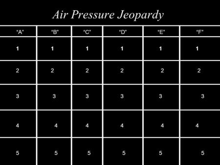 "Air Pressure Jeopardy ""A""""B""""C""""D""""E""""F"" 111111 222222 333333 444444 555555."