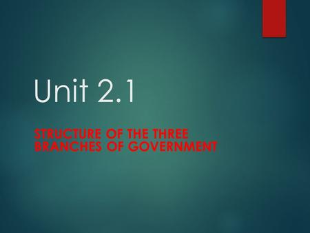 Unit 2.1 STRUCTURE OF THE THREE BRANCHES OF GOVERNMENT.