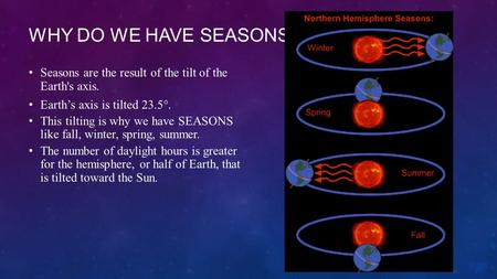 Why do we have seasons? Seasons are the result of the tilt of the Earth's axis. Earth's axis is tilted 23.5°. This tilting is why we have SEASONS like.