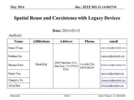 Doc.: IEEE 802.11-14/0637r0 Submission May 2014 James Wang et. al., MediaTekSlide 1 Spatial Reuse and Coexistence with Legacy Devices Date: 2014-05-13.