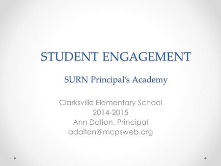 STUDENT ENGAGEMENT SURN Principal's Academy Clarksville Elementary School 2014-2015 Ann Dalton, Principal