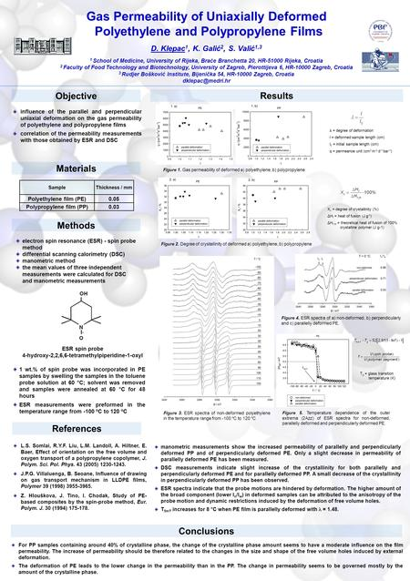 Gas Permeability of Uniaxially Deformed Polyethylene and Polypropylene Films D. Klepac 1, K. Galić 2, S. Valić 1,3 1 School of Medicine, University of.