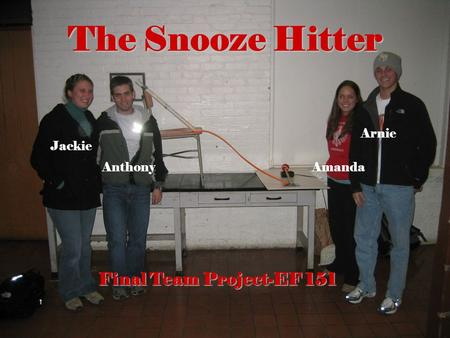 The Snooze Hitter Jackie AnthonyAmanda Arnie Final Team Project-EF 151.