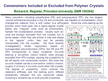 Comonomers Included or Excluded from Polymer Crystals Richard A. Register, Princeton University, DMR 1003942 polymer chain must pack into a highly-regular.
