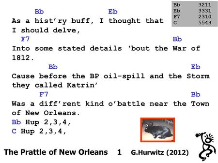 The Prattle of New Orleans 1 G.Hurwitz (2012) Bb Eb As a hist'ry buff, I thought that I should delve, F7 Bb Into some stated details 'bout the War of 1812.