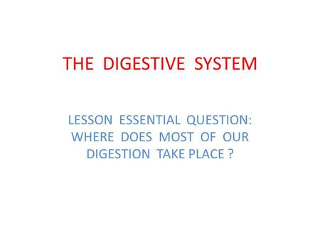 THE DIGESTIVE SYSTEM LESSON ESSENTIAL QUESTION: WHERE DOES MOST OF OUR DIGESTION TAKE PLACE ?