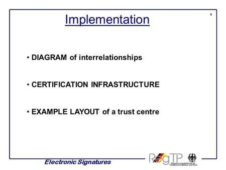 Electronic Signatures Implementation 1 DIAGRAM of interrelationships CERTIFICATION INFRASTRUCTURE EXAMPLE LAYOUT of a trust centre.
