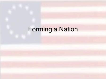 Forming a Nation. Objectives To review the events proceeding the Declaration of Independence To review the key political philosophies of the founding.