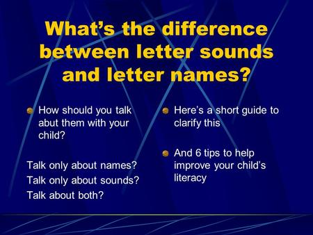 What's the difference between letter sounds and letter names? How should you talk abut them with your child? Talk only about names? Talk only about sounds?