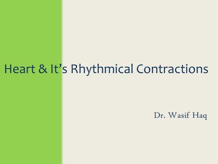 Heart & It's Rhythmical Contractions Dr. Wasif Haq.