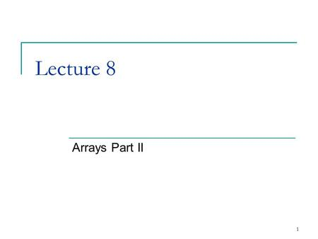 1 Lecture 8 Arrays Part II. 2 4.6Sorting Arrays Sorting data  Important computing application  Virtually every organization must sort some data Massive.