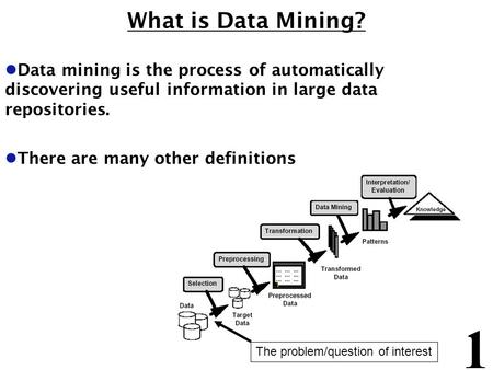 1 What is Data Mining? l Data mining is the process of automatically discovering useful information in large data repositories. l There are many other.