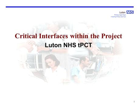 1 Critical Interfaces within the Project Luton NHS tPCT.