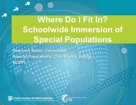 Where Do I Fit In? Schoolwide Immersion of Special Populations Shannon Baker, Consultant Special Populations, Civil Rights, Equity NCDPI Shannon Baker,