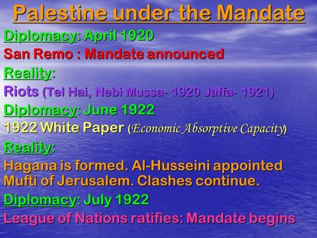 Palestine under the Mandate Diplomacy: April 1920 San Remo : Mandate announced Reality: Riots (Tel Hai, Nebi Mussa- 1920 Jaffa- 1921) Diplomacy: June 1922.