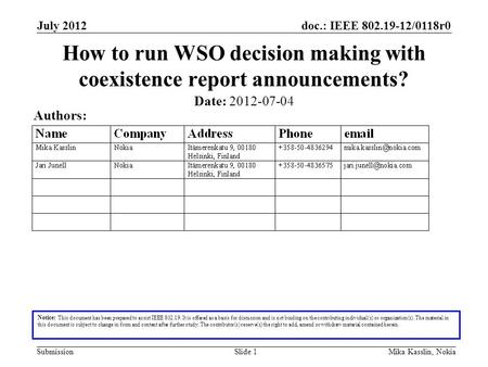 Doc.: IEEE 802.19-12/0118r0 Submission July 2012 Mika Kasslin, NokiaSlide 1 How to run WSO decision making with coexistence report announcements? Notice: