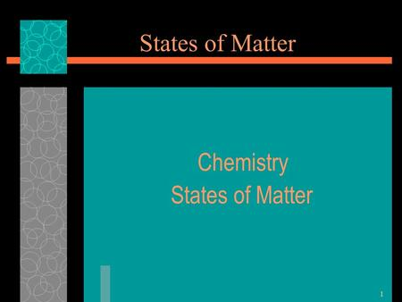 1 States of Matter Chemistry States of Matter. 2 The Four States of Matter Four States  Solid  Liquid  Gas  Plasma.