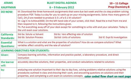 ATAMSBLAST DIGITAL AGENDA 10 – 11 College Prep Chemistry B KAUFFMAN6 – 9 February 2012 DO NOW: M: Download the three homework assignments that were due.