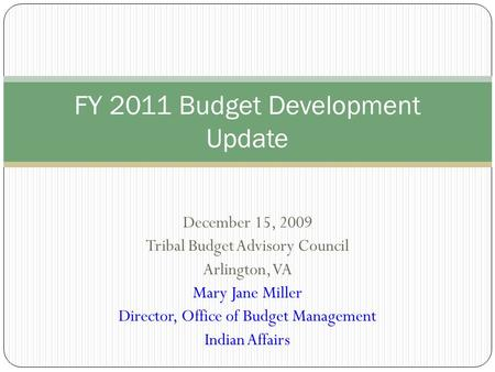 December 15, 2009 Tribal Budget Advisory Council Arlington, VA Mary Jane Miller Director, Office of Budget Management Indian Affairs FY 2011 Budget Development.