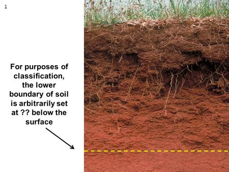 For purposes of classification, the lower boundary of soil is arbitrarily set at ?? below the surface 1.