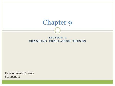 Section 2 Changing Population Trends