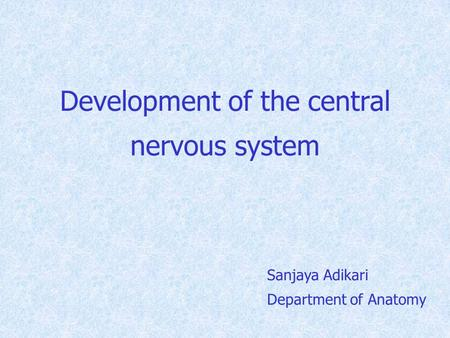 Development of the central nervous system Sanjaya Adikari Department of Anatomy.