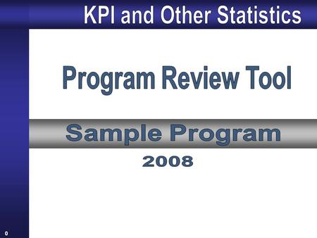 0 1 1.Key Performance Indicator Results (2005-2008) KPI Survey Statistics Student Distribution by Year in Program KPI Overall Results Student Satisfaction.