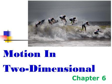 Chapter 6 Motion In Two-Dimensional. Motion in Two Dimensions Using ________signs is not always sufficient to fully describe motion in more than one dimension.