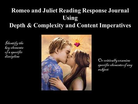 Romeo and Juliet Reading Response Journal Using
