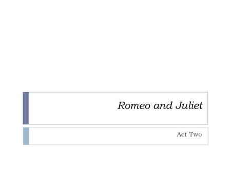 Romeo and Juliet Act Two. Prologue  Romeo's old feelings or Rosaline are dying because of his new feelings for Juliet  Romeo loves Juliet and Juliet.