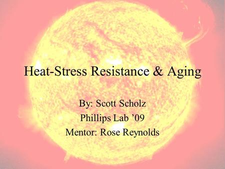 Heat-Stress Resistance & Aging