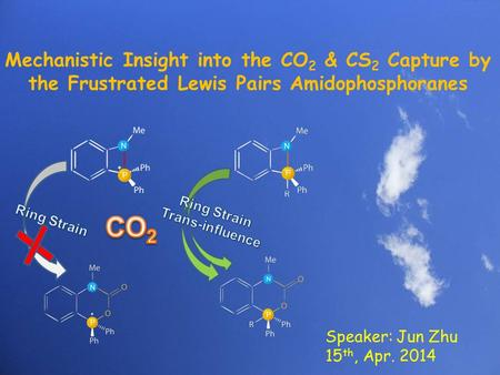 1 Mechanistic Insight into the CO 2 & CS 2 Capture by the Frustrated Lewis Pairs Amidophosphoranes Speaker: Jun Zhu 15 th, Apr. 2014.