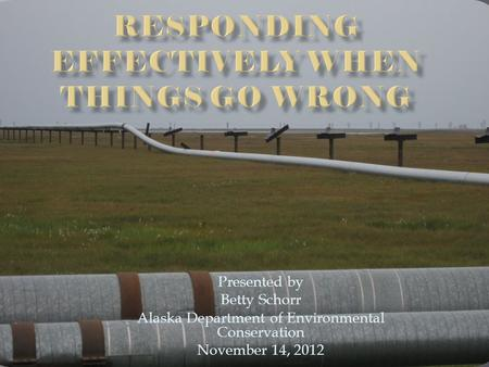 Presented by Betty Schorr Alaska Department of Environmental Conservation November 14, 2012.