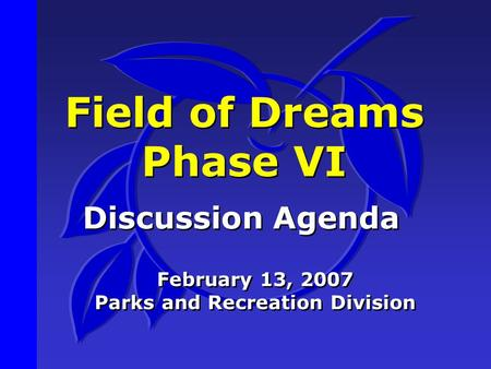 Field of Dreams Phase VI Discussion Agenda February 13, 2007 Parks and Recreation Division February 13, 2007 Parks and Recreation Division.