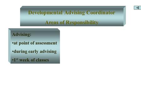 Developmental Advising Coordinator Areas of Responsibility Advising: at point of assessment during early advising 1 st week of classes.