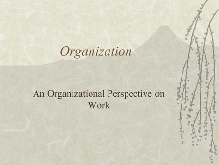 Organization An Organizational Perspective on Work.