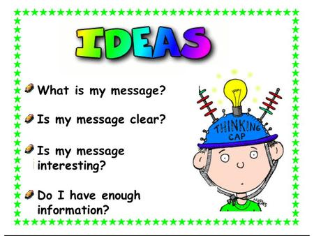 What is my message? Is my message clear? Is my message interesting?