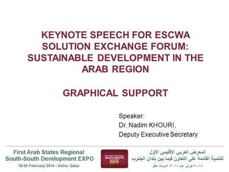 KEYNOTE SPEECH FOR ESCWA SOLUTION EXCHANGE FORUM: SUSTAINABLE DEVELOPMENT IN THE ARAB REGION GRAPHICAL SUPPORT Speaker: Dr. Nadim KHOURI, Deputy Executive.
