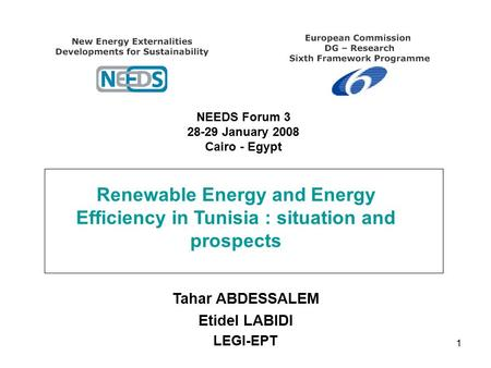 1 Renewable Energy and Energy Efficiency in Tunisia : situation and prospects Tahar ABDESSALEM Etidel LABIDI LEGI-EPT NEEDS Forum 3 28-29 January 2008.