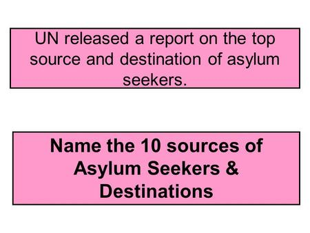 UN released a report on the top source and destination of asylum seekers. Name the 10 sources of Asylum Seekers & Destinations.